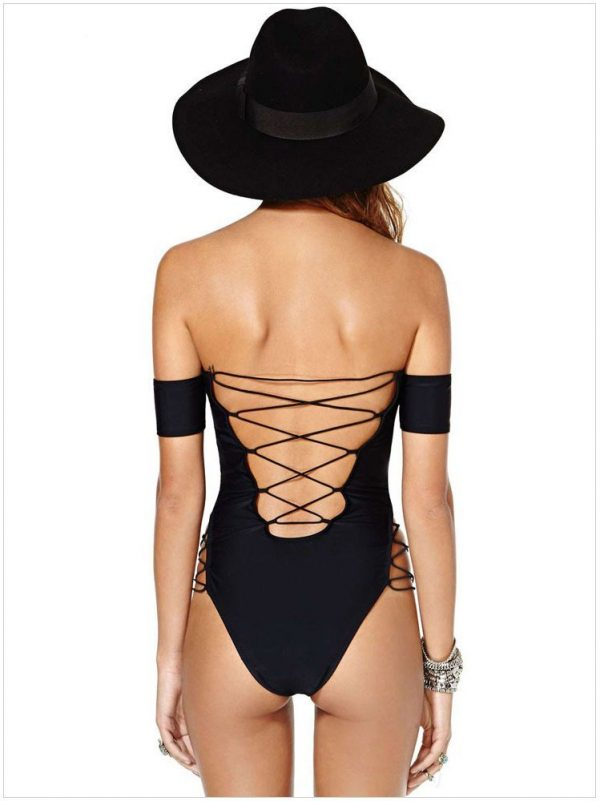 Black Lace Up Off Shoulder One Piece Swimsuits For Women