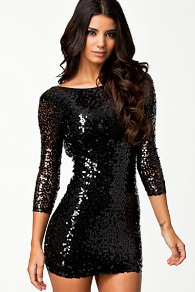 Black Sexy luxury Long Sleeve Sequin Mini Dress