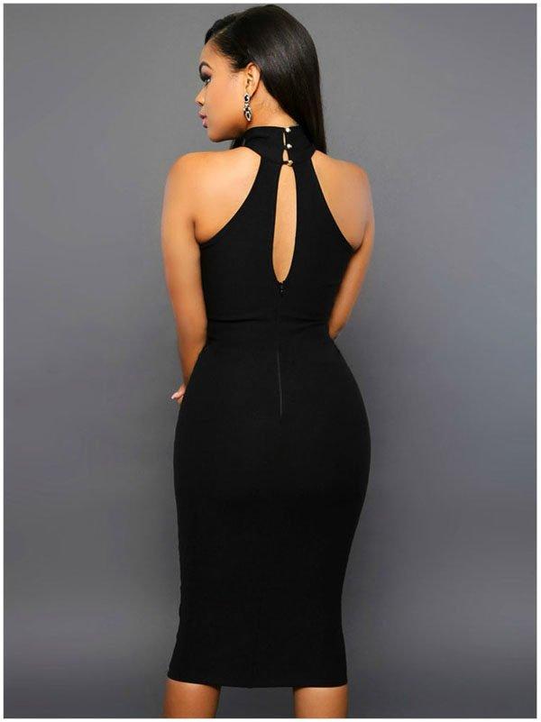 Women Black Peephole Cheap Evening Dresses