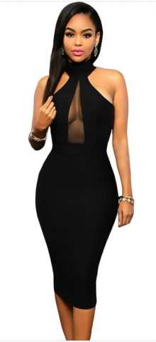 Women Black Peephole Cheap Evening Dresses