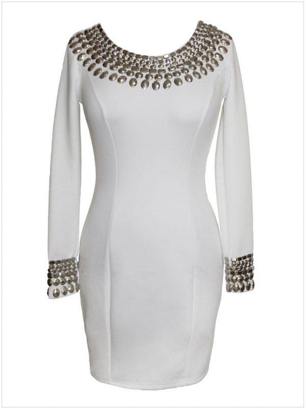 White Long Sleeve Midi Dress
