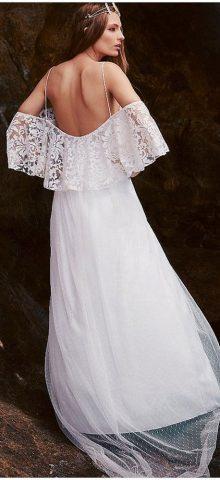 Beautiful Elegant Bride White Lace Wedding Dress