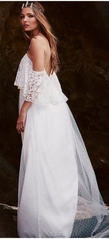 Beautiful Elegant Bride White Lace Wedding Dress