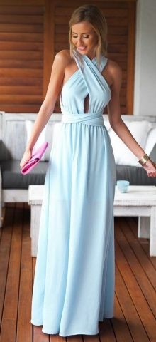Beautiful Halter Neck Sleeveless Light Blue Maxi Dress