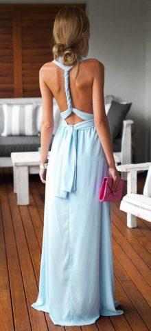 Beautiful Halter Neck Sleeveless Light Blue Maxi Dress