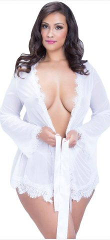Beautiful Plus Size Lace Mesh Women White NightGown Dresses