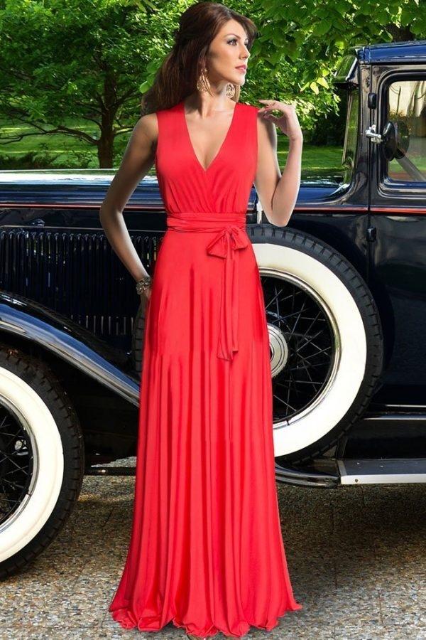 Belted Cross Back Maxi Long Formal Red Prom Dresses