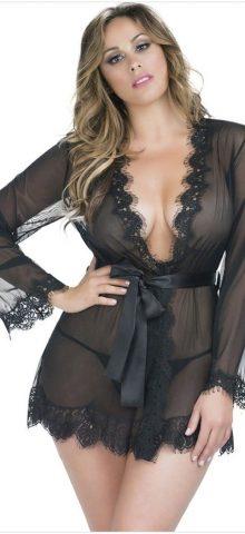 Bueatiful Plus Size Black Lace Mesh Ladies Night Gown Dresses