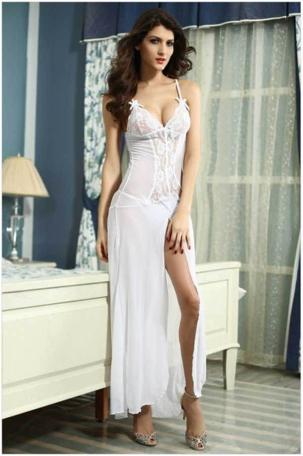 promotion rock-bottom price forefront of the times Cheap Best Satin White Ladies Nightwear