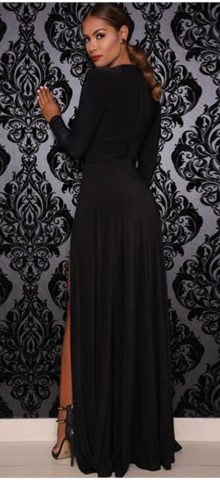 Cheap Black Long Sleeve Maxi Formal Evening Gowns