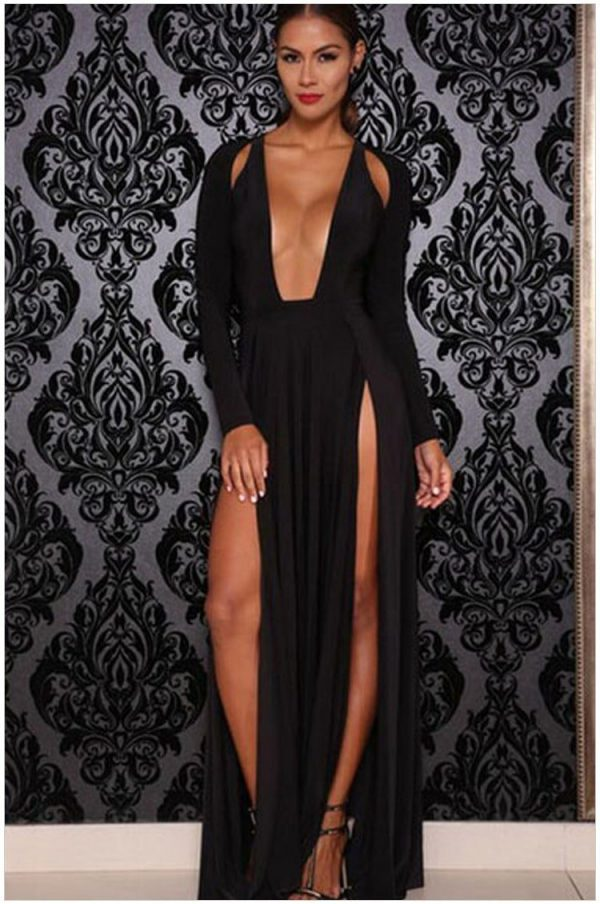Cheap Black Long Sleeve Maxi Formal Evening Gowns