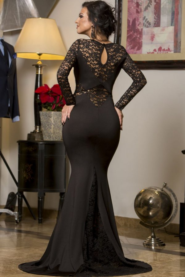 Cheap Black Long Sleeve Mermaid Lace Prom Dresses