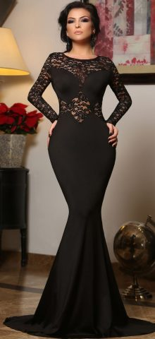 Cheap Black Long Sleeve Mermaid Lace Prom Dresses