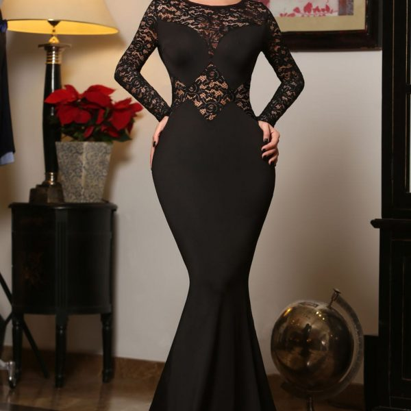 Cheap Black Long Sleeve Mermaid Lace Prom Dresses Online