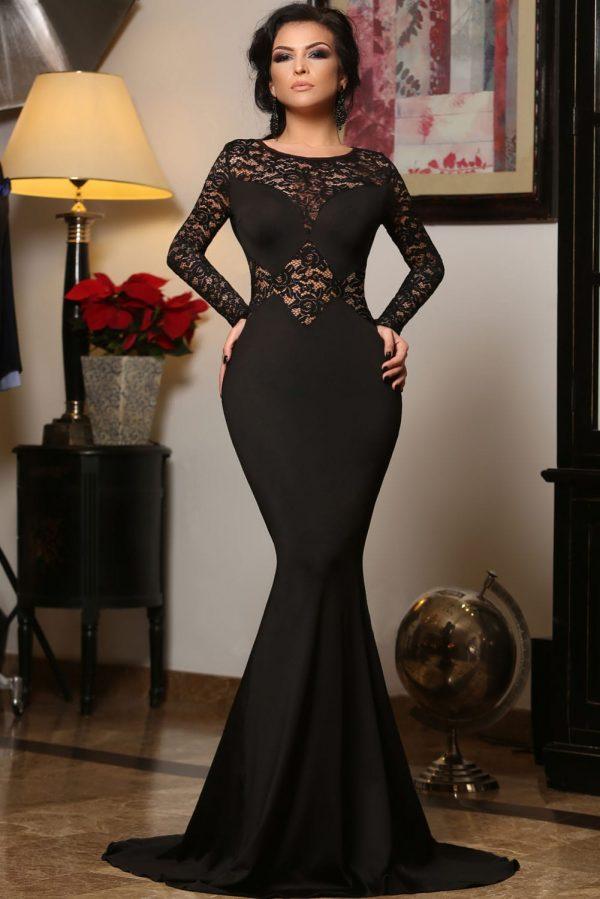 Cheap Black Long Sleeve Mermaid Lace Prom Dresses Online