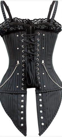 Cheap Bustier Ladies Black Corset Tops