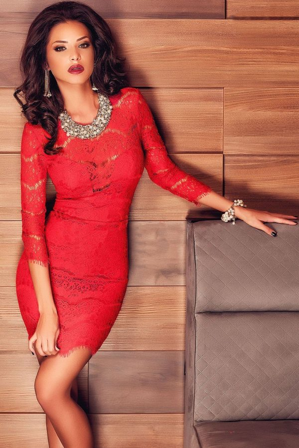 Cheap Club Women Long Sleeve Lace Sexy Red Dresses