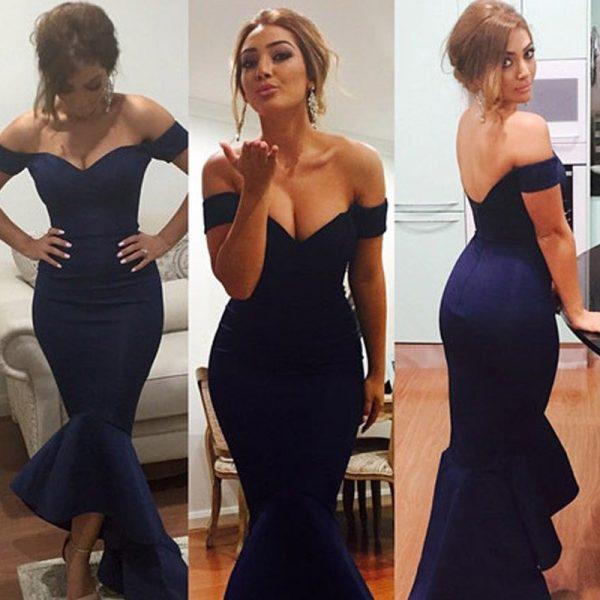Cheap Elegant Off Shoulder Black Long Special Occasion Dresses