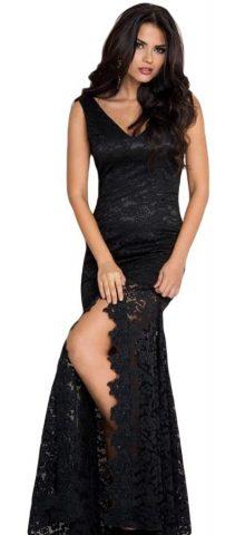 Cheap Elegant Sleeveless Long Black Lace Prom Dress