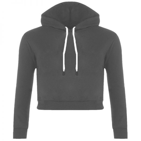 Cheap Girl Fashion Gray Hooded Crop Top