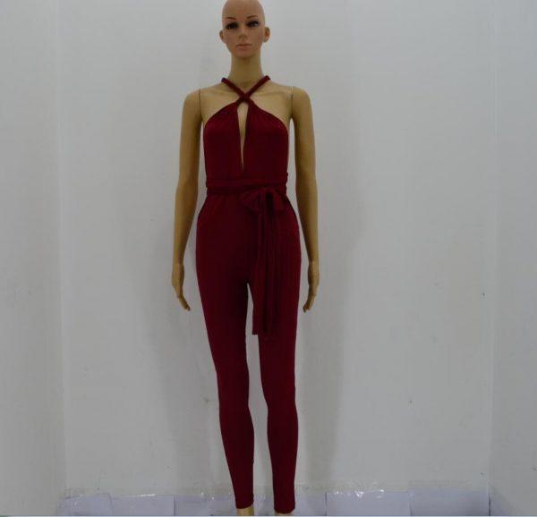 Cheap Ladies Halter Neck Red Tight jumpsuit