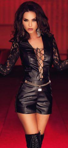 Cheap Leather Women Short Black Lace Playsuits