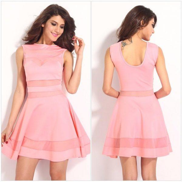 Cheap Mesh Pink Short Cute Sexy Dresses For Club