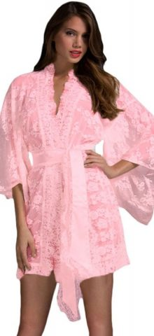 Cheap Plus Sze Pink Lace Silk Womens Nightwear.jpg