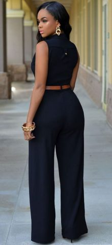Cheap Sleeveless Black Jumpsuits For Women