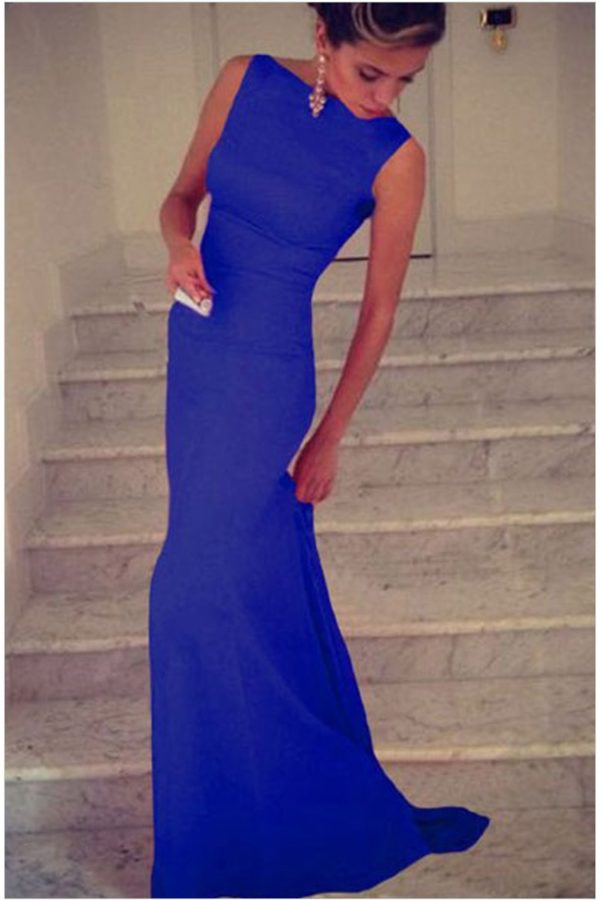 Cheap Sleeveless Formal Party Long Royal Blue Maxi Dress Online