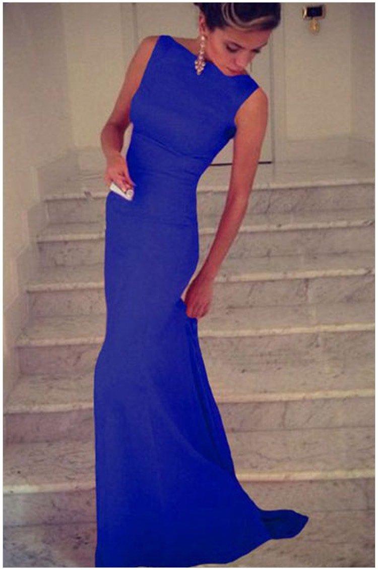 Cheap Sleeveless Formal Party Long Royal Blue Maxi Dress