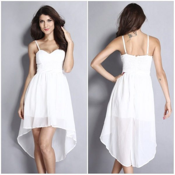 Cheap Sleeveless Lace Short White Graduation Dresses - Online Store ...