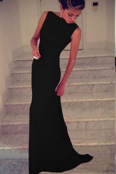 Cheap Sleeveless Long Black Prom Dresses
