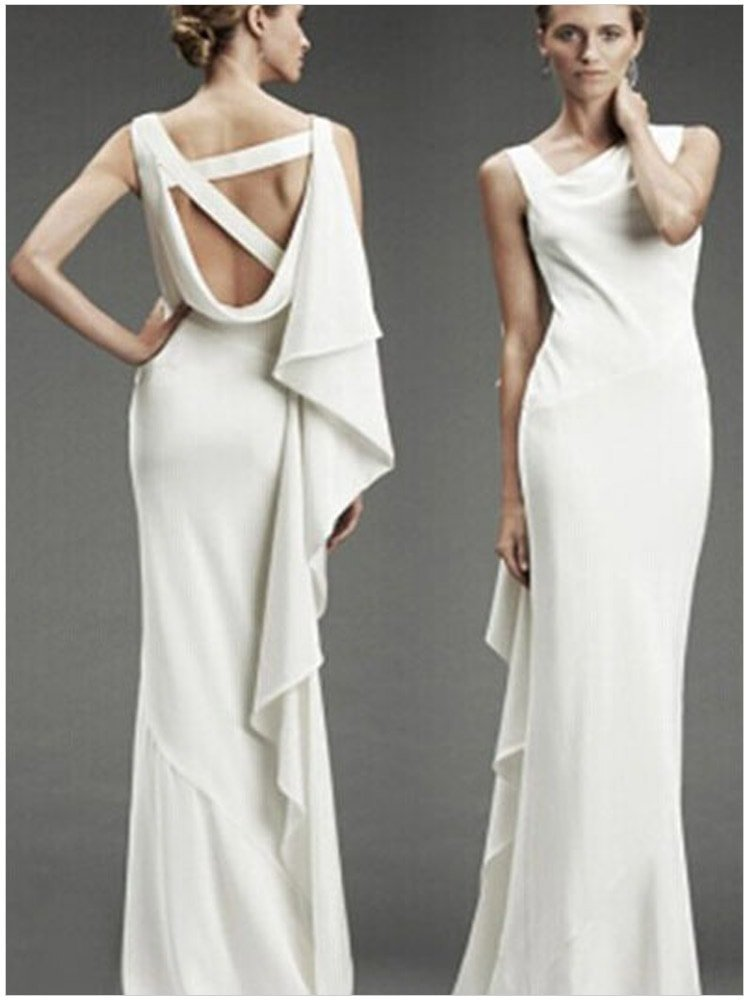Cheap Sleeveless Long White Bridesmaid Gowns Online