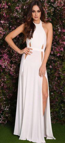 Cheap Sleeveless Long White Evening Dresses