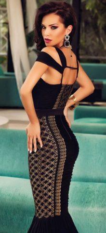 Cheap Sleeveless Sequin Lace Long Black Mermaid Dresses