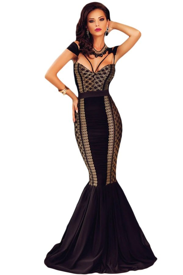 cheap sleeveless sequin lace long black mermaid dresses