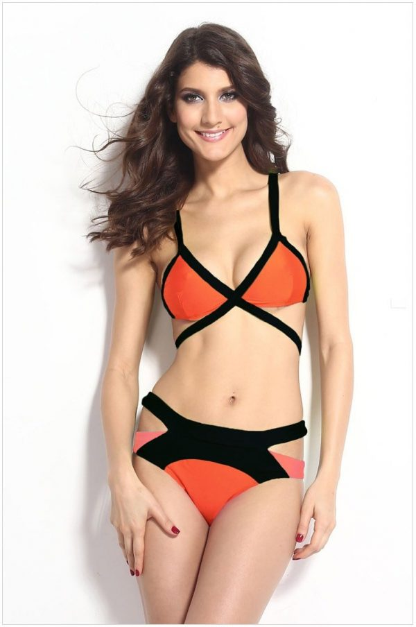 Cheap Strappy Girl Two Piece Swimsuits