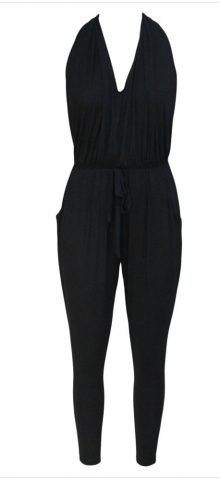 Cheap Women Cute Deep V Neck Black Halter Neck Jumpsuit