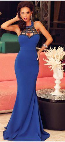 Cheap Women Elegant Blue Mermaid Style Evening Dresses