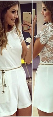Cheap Women Lace Cute White Romper