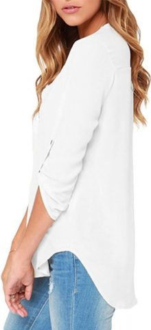 Cheap Women Summer Long Sleeve White Chiffon Blouse