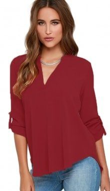Cheap Women Summer Red Long Sleeve Blouses For Work