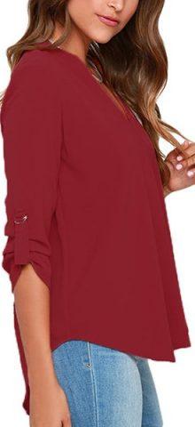 Cheap Women Summer Red Long Sleeve Blouses For Work
