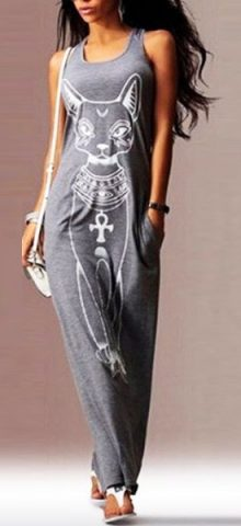 Cheap Women's Cat Print Gray Sleeveless Long Petite Maxi Dresses