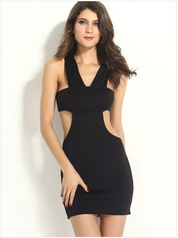 Cross Back Sexy Short Black Club Dresses Online Store