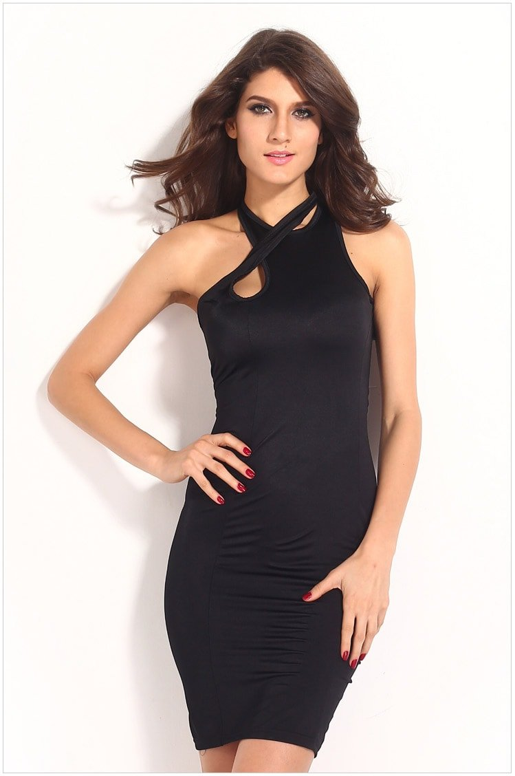 Crossover Neck Women Black Sexy Night Out Dresses - Online ...