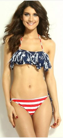 Cute American Flag Halter Top Womens Tankini Bathing Suits