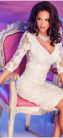 Elegant Club Long Sleeve Mini White Lace Dresses