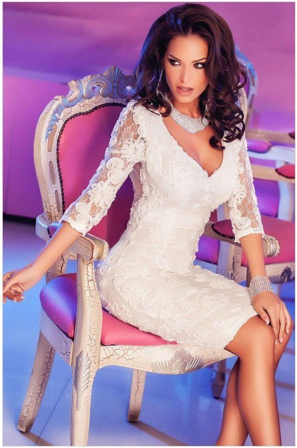 Elegant Club Long Sleeve Mini White Lace Dresses